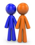 Orange and Blue Man. An orange and blue man standing side by side. They can be friends or coworkers Royalty Free Stock Photo