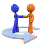 Orange and Blue Man Closing Deal Stock Photo