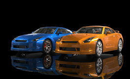 Orange and Blue Metallic Car on Black Background Royalty Free Stock Photos