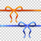 Orange and Blue Narrow Ribbons with Bright Bows Stock Photo