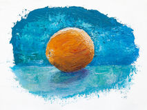 Orange on blue, oil painting Royalty Free Stock Photo