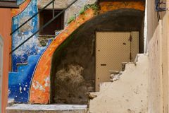 Orange and blue olored stairs. Of an morbid house royalty free stock photos