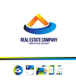 Orange blue real estate house logo Royalty Free Stock Photo