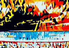 Orange blue red yellow and black abstract Stock Photography