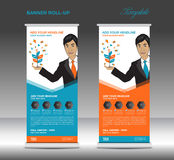 Orange and blue Roll up banner  template and Business Man  Stock Photography