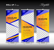 Orange and blue Roll Up Banner template vector illustration on p vector illustration