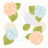 Orange and Blue Roses. Background with Orange and Blue Roses Royalty Free Illustration