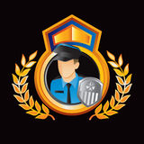 Orange and blue royal display with policeman Stock Photo