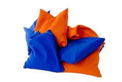 Orange and Blue Sandbags Stock Photo