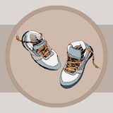 Orange-blue sneakers sketch Stock Photo