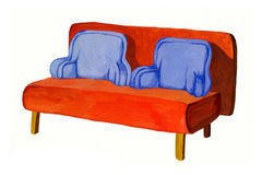 Orange-blue sofa hand drawn Stock Image