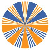 Orange and blue sunburst design element of arrow icon. Abstract vector illustration