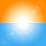 Orange and blue sunny background Stock Photos