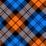 Orange and blue tartan diagonal seamless pattern Royalty Free Stock Images
