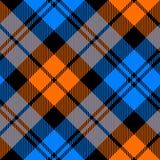 Orange and blue tartan diagonal seamless pattern Royalty Free Stock Images