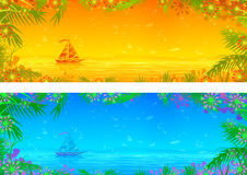 Orange and blue tropical sea banners. (other landscapes are in my gallery Stock Photo