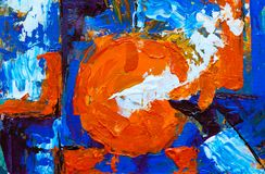 Orange, Blue, and White Abstract Painting stock photo