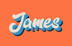 Orange blue white james hand written word text for typography lo. James hand written word text for typography design in orange blue white color. Can be used for royalty free illustration