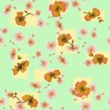 Orange Blumen des nahtlosen Musters des Aquarells auf einem grün-gelben Hintergrund Lizenzfreie Stockbilder