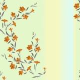 Orange Blumen des nahtlosen Musters des Aquarells auf einem Mehrfarbenhintergrund Stockbilder