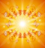 Orange Blumenhintergrund mit Verzierung lizenzfreie abbildung