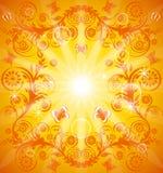 Orange Blumenhintergrund mit Verzierung vektor abbildung