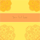Orange Blumenverzierung bringt Kartenschablone in Verlegenheit Stockbilder
