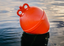 Orange boat buoy. In the sea Royalty Free Stock Photos