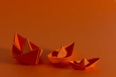 Orange boats Stock Photos