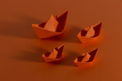 Orange boats Royalty Free Stock Photos