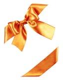 Orange Bogen vom Seidenband Stockfotografie