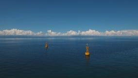 Orange Boje im Meer stock footage