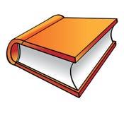 Orange Book cartoon. An orange colored book isolated on white stock illustration