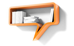 Orange Bookshelf in the Form of speech bubble Isolated on white Background Royalty Free Stock Photos