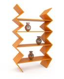 Orange Bookshelf isolated on white. 3d illustration Stock Images