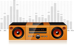 Orange boombox with signal spectrum, vector Stock Photo