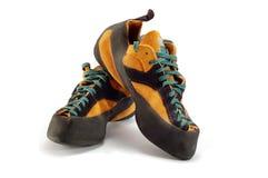 Orange boots for climbing sport Stock Photo