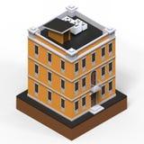 Orange bostads- byggnad i en liten isolerad plattform Illustration för raster 3d av en perspektivsikt framförande 3d Arkivfoton