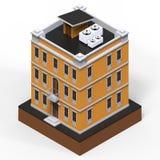 Orange bostads- byggnad i en liten isolerad plattform Illustration för raster 3d av en perspektivsikt framförande 3d Arkivbilder