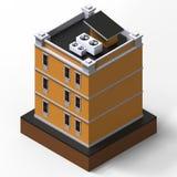 Orange bostads- byggnad i en liten isolerad plattform Illustration för raster 3d av en perspektivsikt framförande 3d Royaltyfri Foto