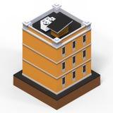 Orange bostads- byggnad i en liten isolerad plattform Illustration för raster 3d av en perspektivsikt framförande 3d Arkivfoto