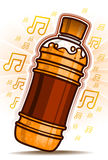 Orange Bottle with music symbol Stock Photo