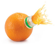 Orange with bottle neck and juice splashes Stock Photos