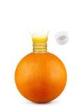 Orange with bottle neck and juice splashes on white background Royalty Free Stock Photo