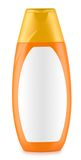 Orange bottle of shampoo isolated Stock Photos