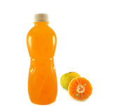 Orange and Bottled fruit juice Stock Photography