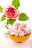 Orange bowl with diced Turkish delight Stock Image