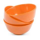 Orange bowl isolated on white background Stock Photos