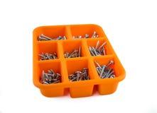 Orange box of screws on white background 01 Stock Photos