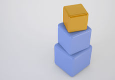 Orange box at top showing leader concept. Orange box showing leader, 3d cubes stack concept Royalty Free Stock Photo